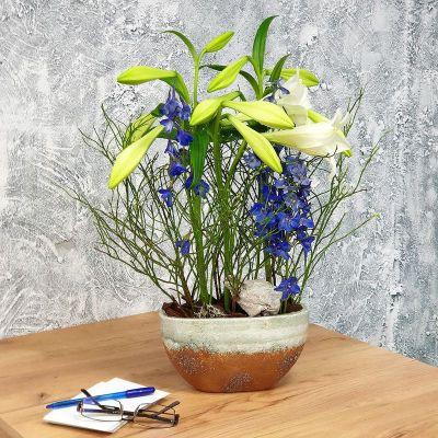 Цветочная композиция для офиса с лилией