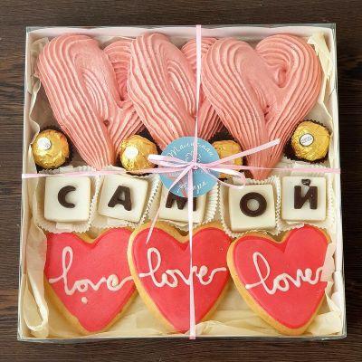Подарочный набор из безе, конфет Ферреро Роше и печений - Самой
